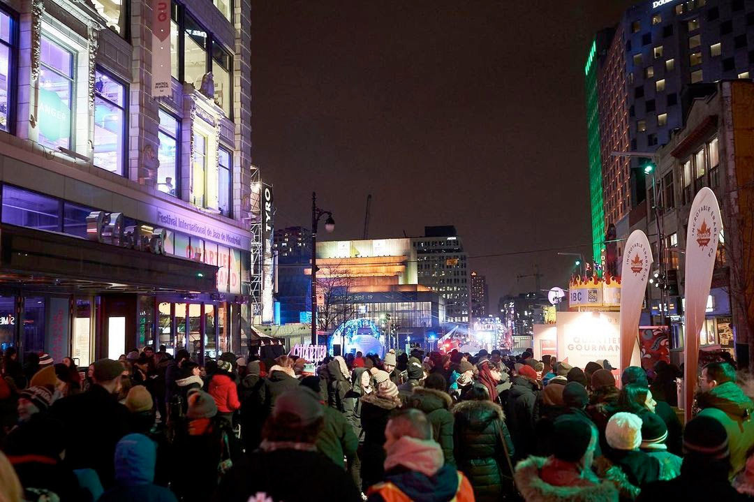 Crowded Ste-Catherine St. in Montréal during Nuit Blanche, 2020